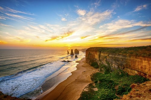 The sun sets along the Great Ocean Road