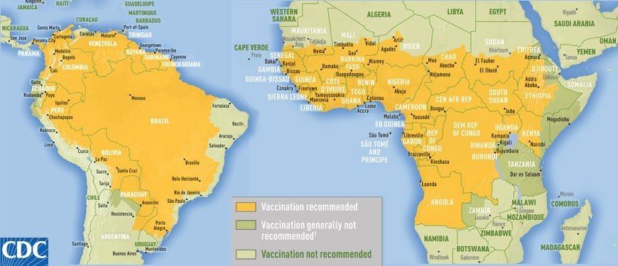 CDC Yellow Fever areas that require the vaccine.